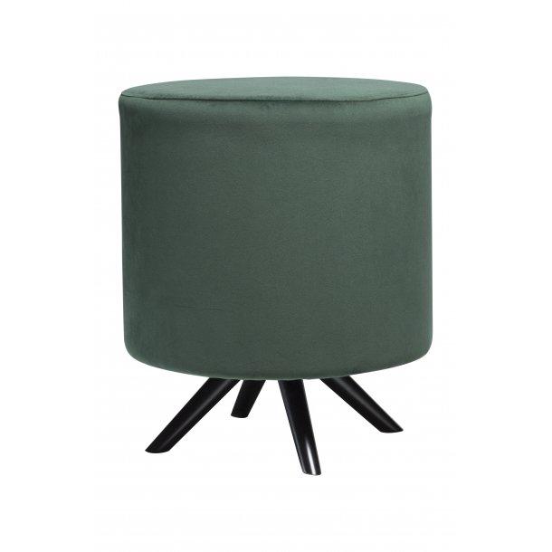 Blur fodskammel emerald grøn velour, sorte ben.