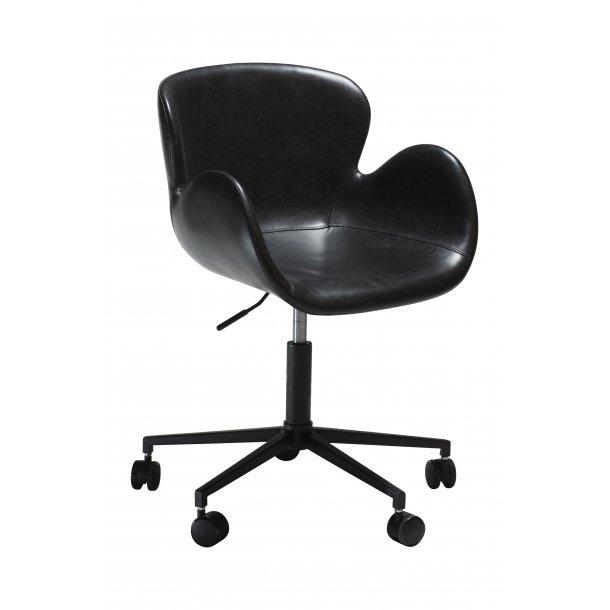Danform Gaia kontorstol vintage sort PU kunstlæder, sorte ben.