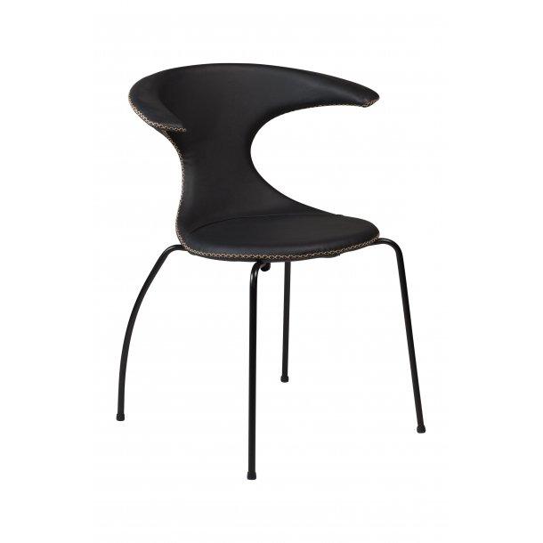 Danform Flair spisestuestol sort ægte læder, sorte ben.