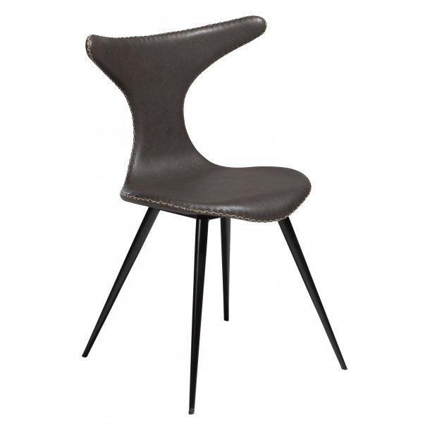 Danform Dolphin spisestuestol vintage grå PU kunstlæder, sorte ben.