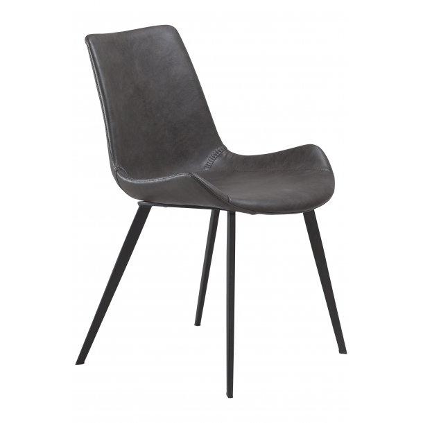 Danform Hype spisestuestol vintage grå PU kunstlæder, sorte ben.