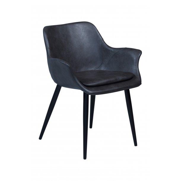 Combino spisestuestol vintage grå PU kunstlæder, sorte ben.