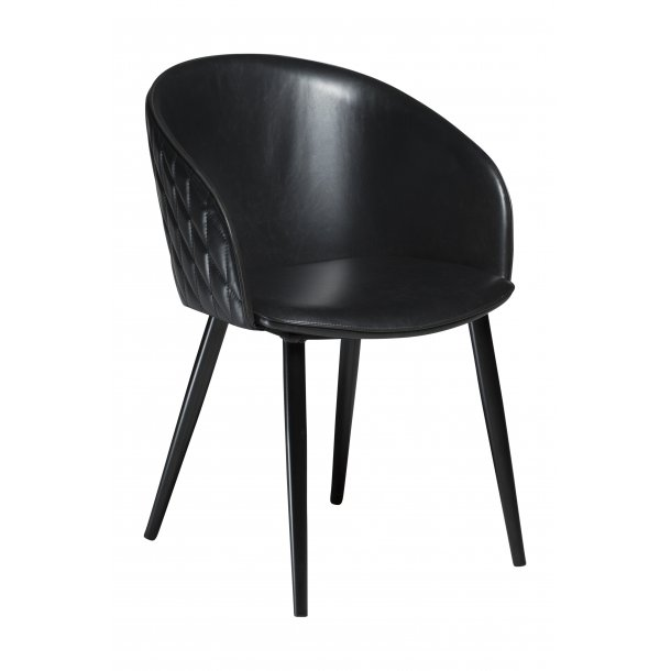 Danform Dual spisestuestol vintage sort PU kunstlæder, sorte ben.