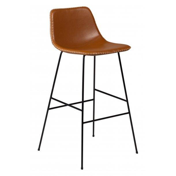 Floss barstol lysebrun PU kunstlæder, sorte ben.