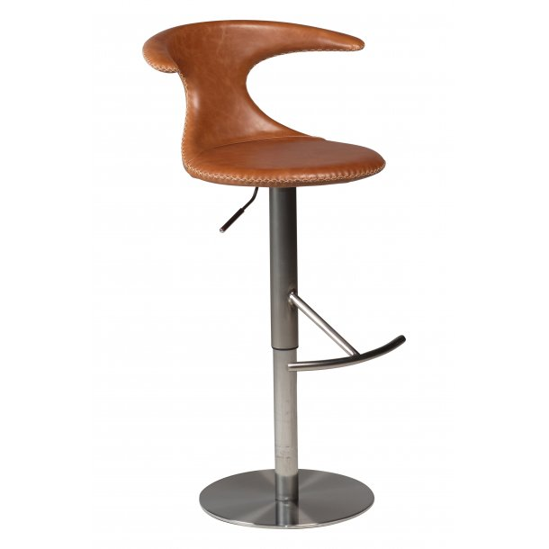 Flair barstol lysebrun ægte læder, børstet metal ben.