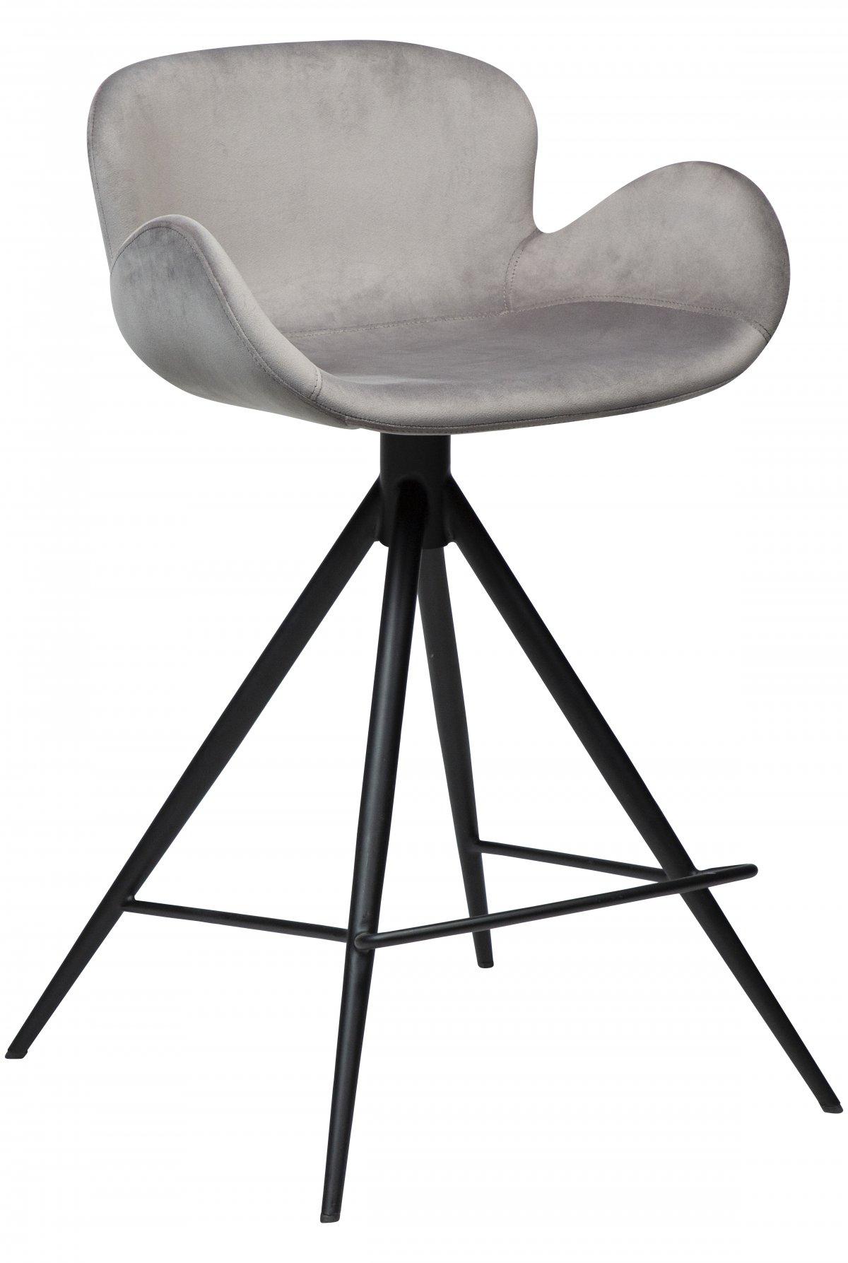 Danform Gaia barstol , counterstol velour med armlener grå