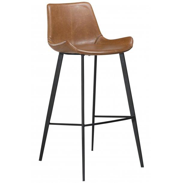 Hype barstol vintage lysebrun PU kunstlæder, sorte ben.
