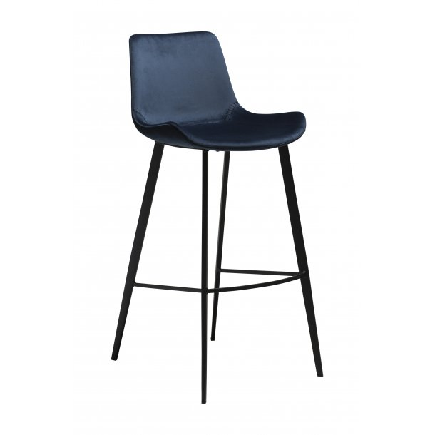 Hype barstol midnight blå velour, sorte ben.