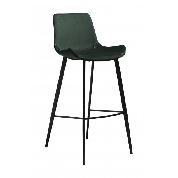 Hype barstol emerald grøn velour, sorte ben.