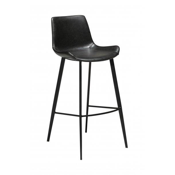 Hype barstol vintage sort PU kunstlæder, sorte ben.