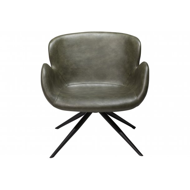 Gaia loungestol vintage grøn PU kunstlæder, sorte ben.