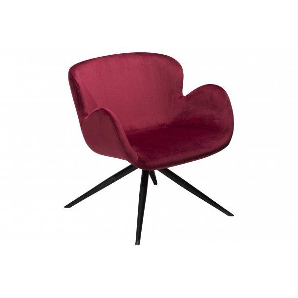 Gaia loungestol deep ruby velour, sorte ben.