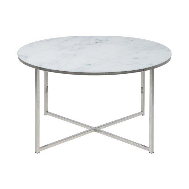 Almaz sofabord Ø80 cm i glas med marmorprint og stel i chrome.