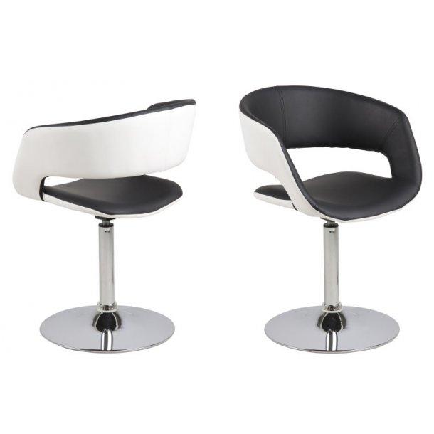Gramma spisestuestol sort og hvid PU kunstlæder og med fod i chrome.