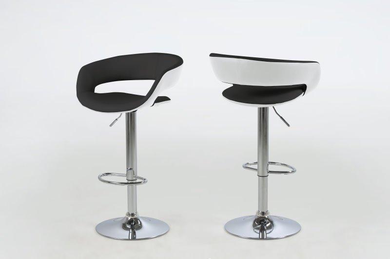 Gramma barstol svart, hvit, med fot i krom og gasspatron.Se her