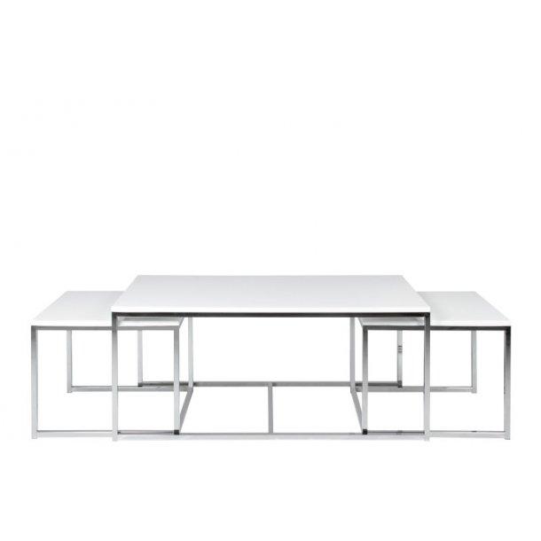 Corn sofabord bestående af 2 små og 1 stort bord i hvid højglans.