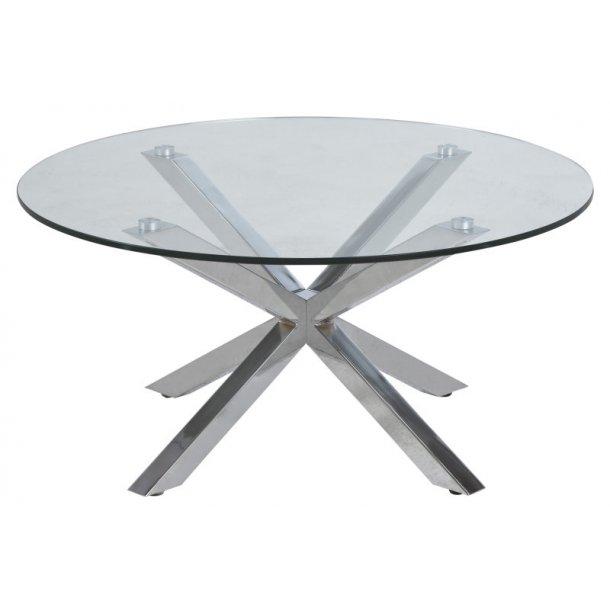 Helium sofabord med bordplade i klar glas og stel i chrome.