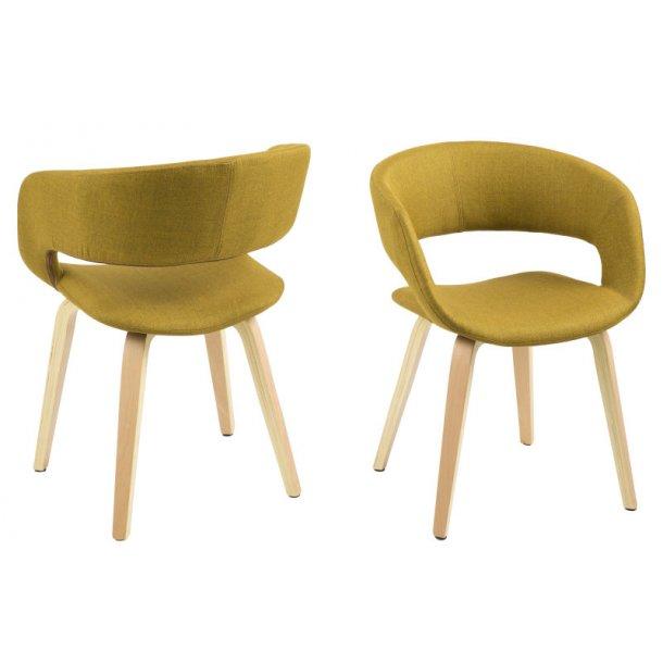 Gramma spisestuestol karry gul med formspændte ben.