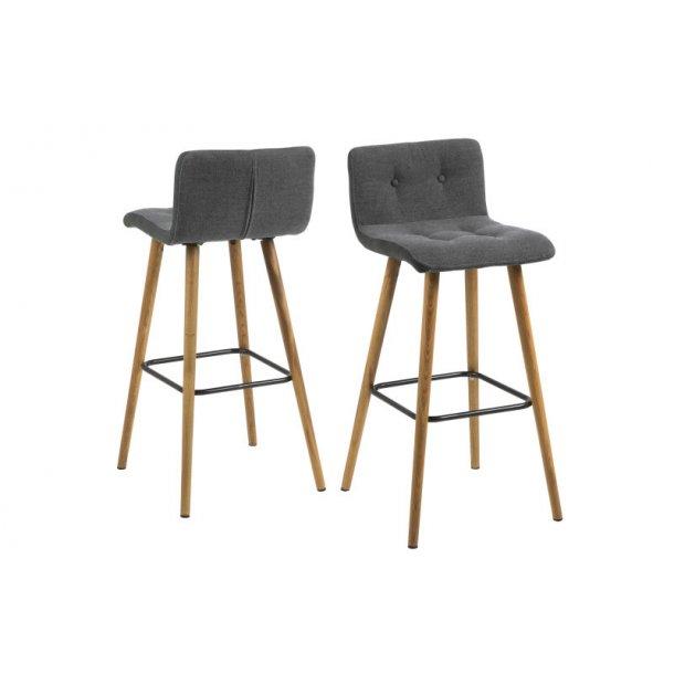 Frise barstol i lys grå med sider i mørk grå og med ben i massiv eg oliebehandlet.