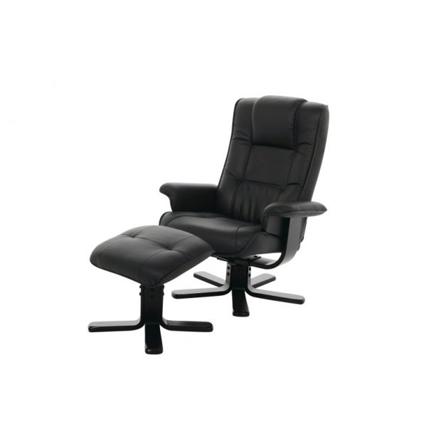 Liam lænestol med fodskammel i sort PU kunstlæder.