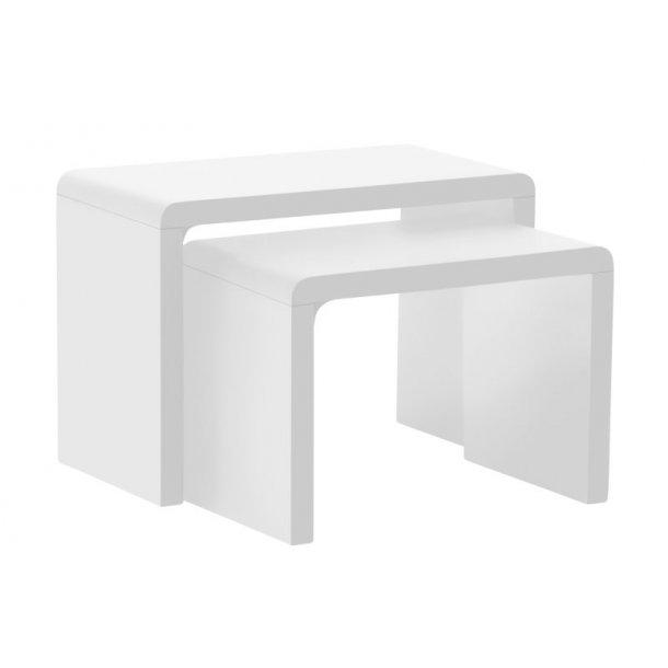 Hjørneborde som indskudsborde Sussi bestående af 2 borde i hvid højglans.