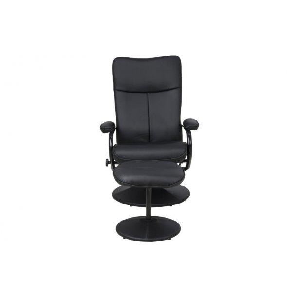 Brandy lænestol med fodskammel i sort PU kunstlæder.