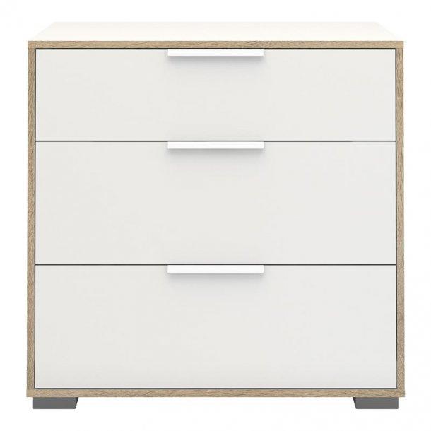 Signe kommode med 1 lille og 2 store skuffer hvid/hvid eg dekor.