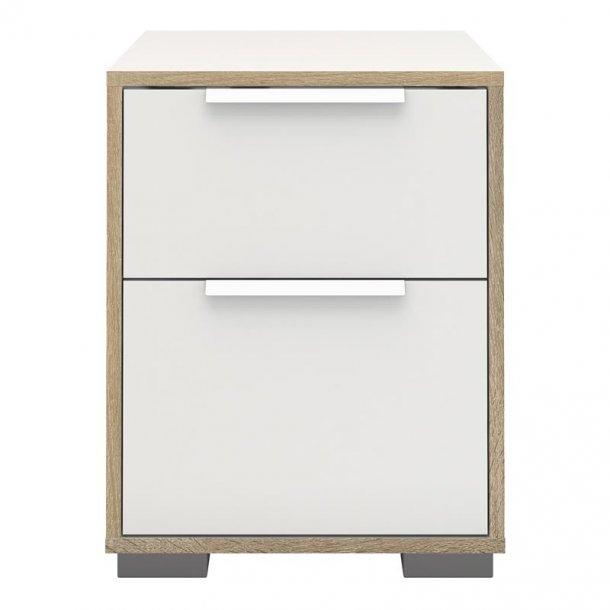 Signe natbord med 1 lille og 1 stor skuffe hvid/hvid eg dekor.