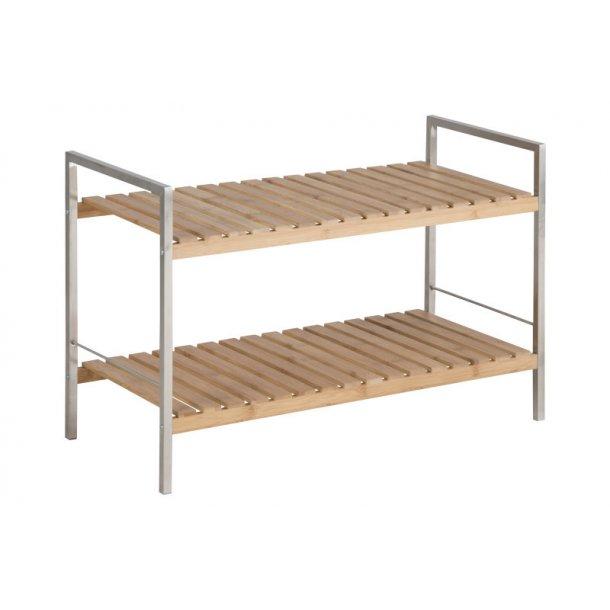 Duke skoreol med 2 hylder i bambus og rustfri stål.
