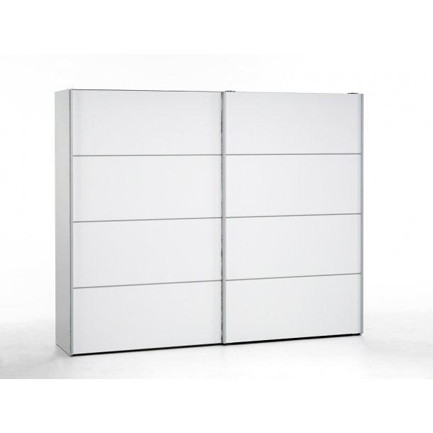 Verona skydedørsskab 2 dørs bredde 242 cm, højde 201 cm hvid.