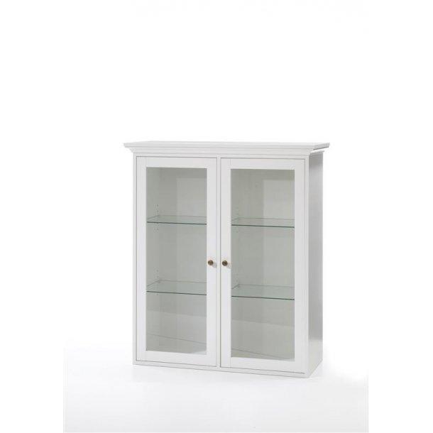 Venedig vitrine vægskab med 2 glaslåger bredde 99 cm, højde 112,5 cm hvid.