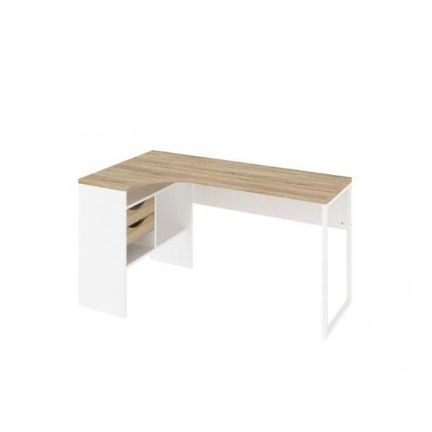 Plus hjørneskrivebord med 3 hylder og 2 skuffer. Hvid og egestruktur.