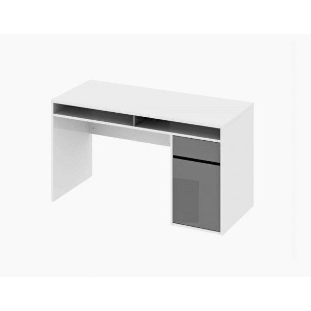 Plus skrivebord med 2 hylder, 1 skuffe og 1 låge. Hvid og grå højglans.