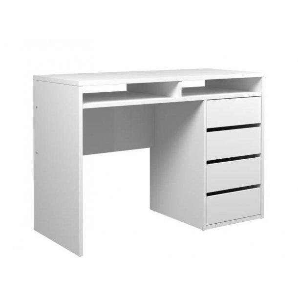 Plus skrivebord med 2 hyller og 4 skuffer. Hvit høyglans.