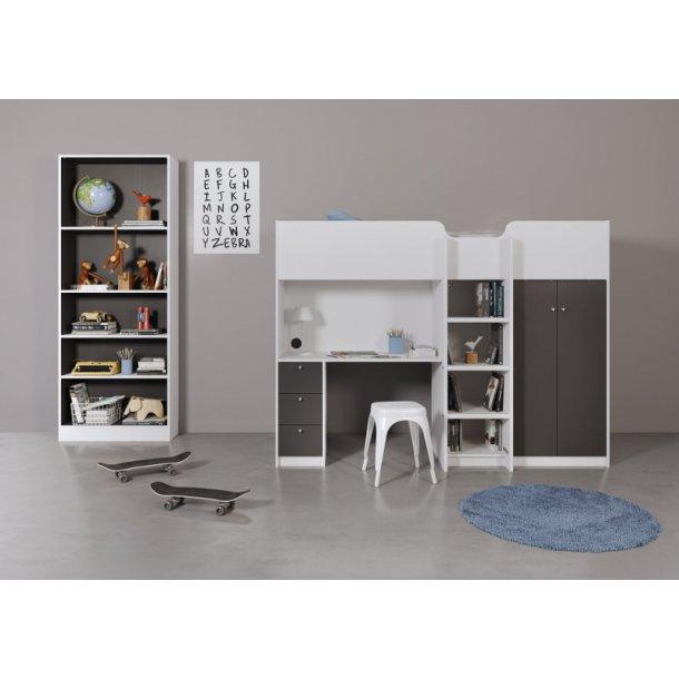 etagenbett irma mit schrank ablagen schreibtisch und schubladen weiss grau. Black Bedroom Furniture Sets. Home Design Ideas