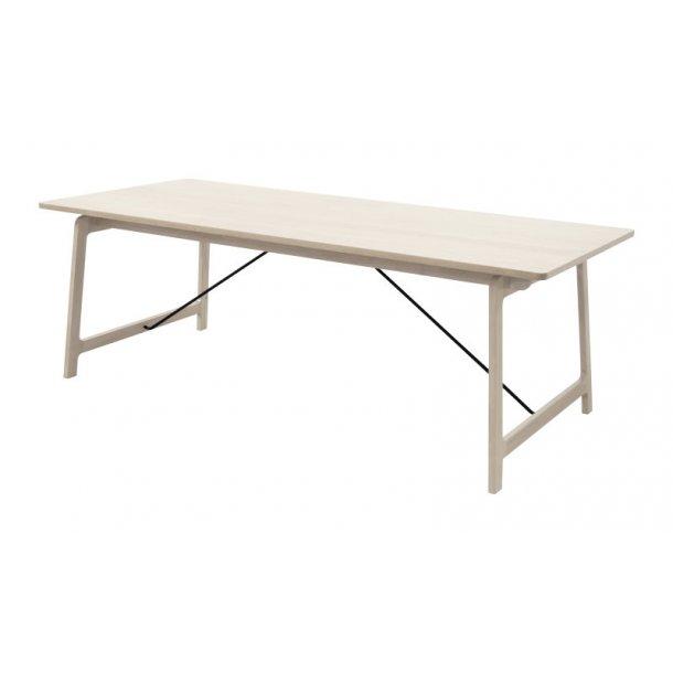 Eis spisebord 95 x 220 cm i ege finer og sort stål.