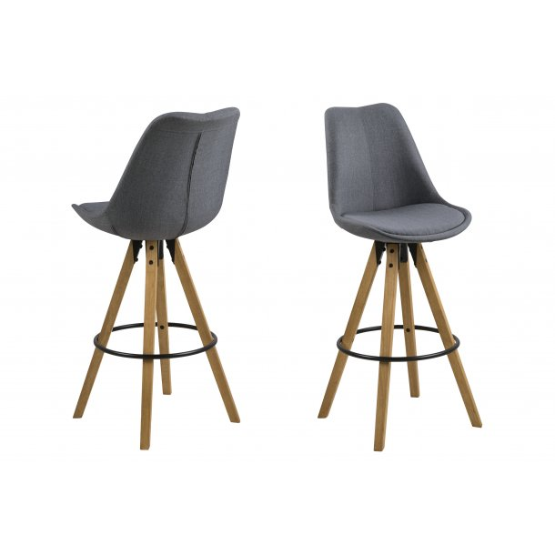 Dry barstol som skalstol i stof mørkegrå.
