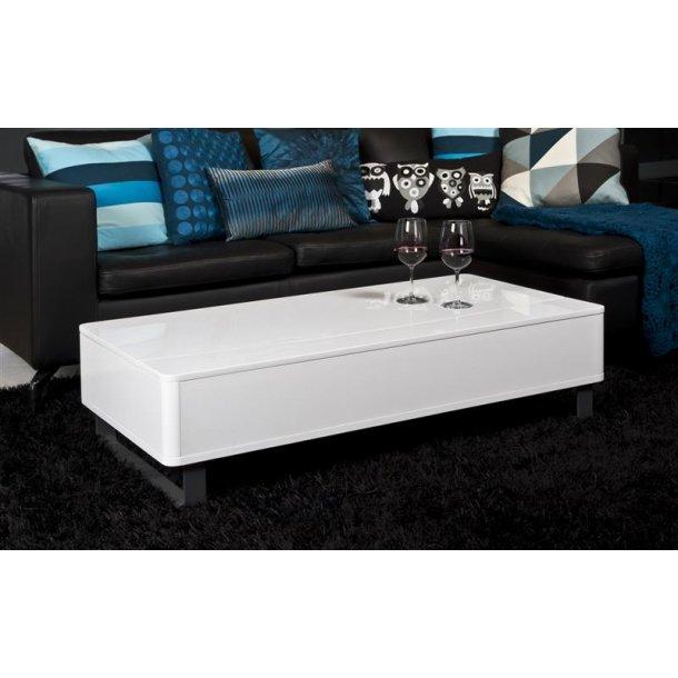 Pam sofabord med opbevaring i hvid højglans og stel i alu farve.
