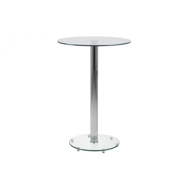 Belis barbord Ø70 cm i klar glas med glas fod.