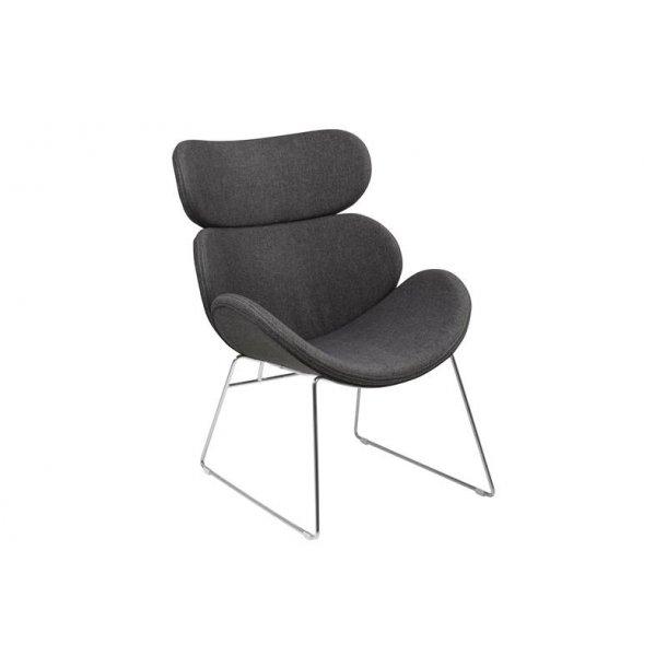 Cazy lænestol i stof grå med chrome stel.