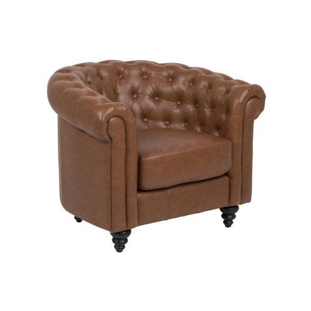 Charlie lænestol i PU kunstlæder vintage Cognac med sorte ben.