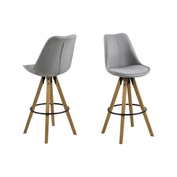 Dry barstol som skalstol i stof lysegrå.