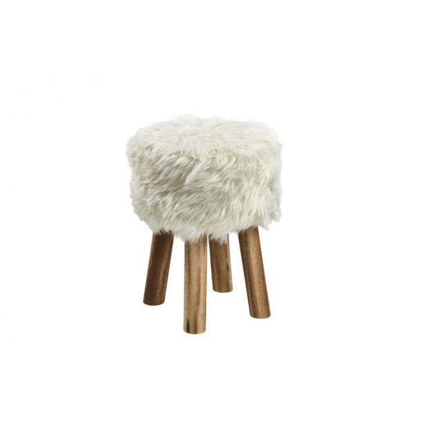 Misty fodskammel Ø28 cm i imiteret pels hvid.
