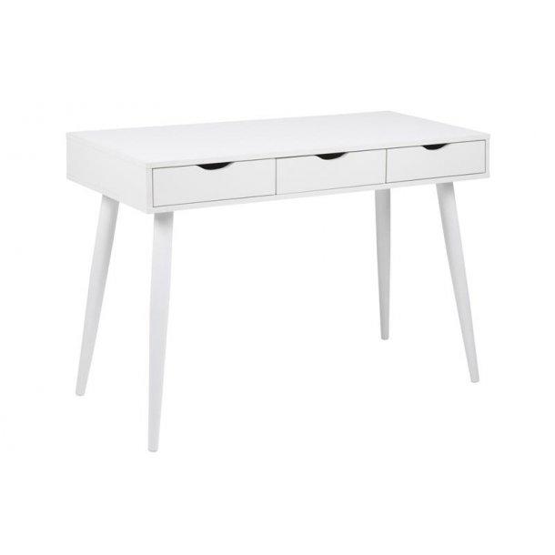 Nula skrivebord med 3 skuffer i hvid.