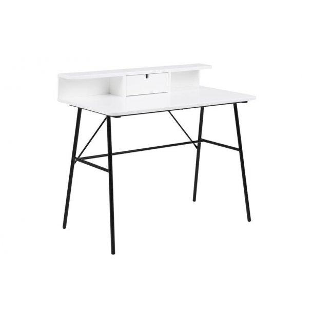 Pasa skrivebord med 1 skuffe og 1 hylde i hvid og sort stel.