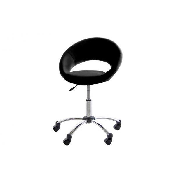 Plus kontorstol i sort PU kunstlæder chrome stel.