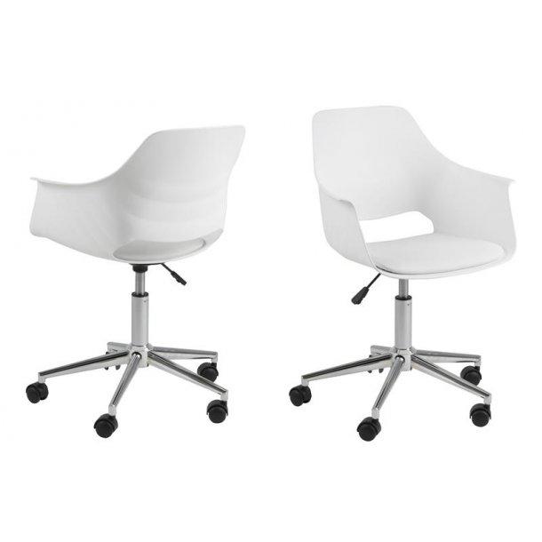 Ram kontorstol i hvid og chrome.