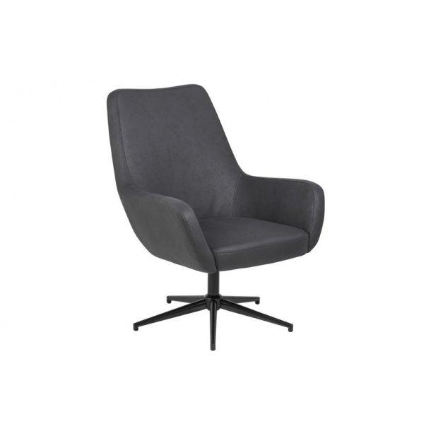 d950de086f0 Riga lænestol med drejefod stof sort. Fri fragt! 1-2 dage levering!