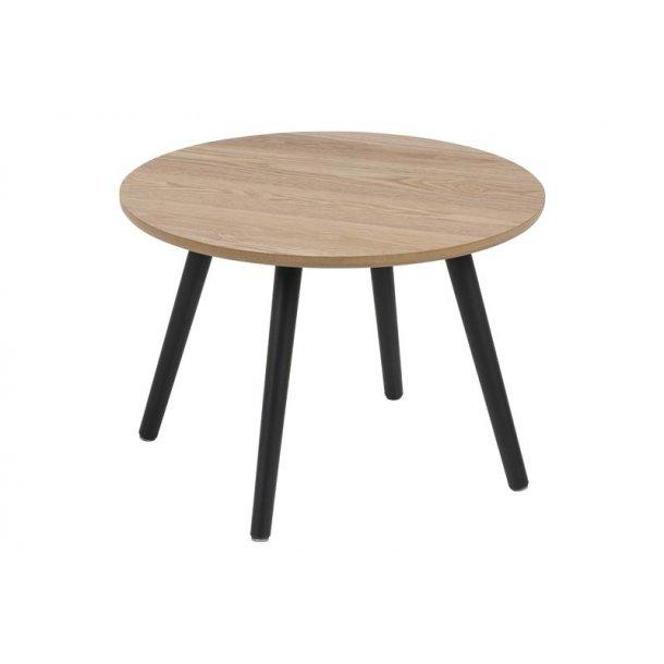 Staff hjørnebord Ø50 cm i ask dekor og sorte ben.