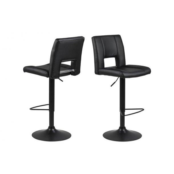 Sys barstol med gaspatron i PU kunstlæder sort med sort fod.